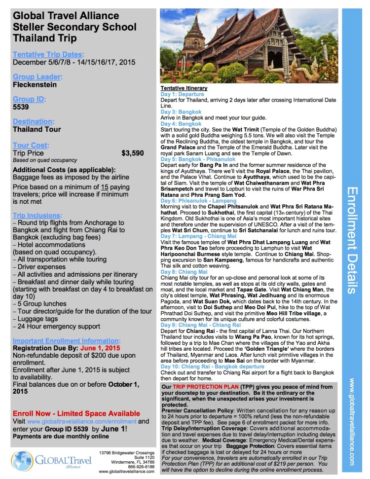 Steller Secondary - 2015 Thailand Trip Enrollment Form